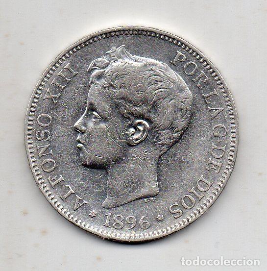 ALFONSO XIII. 5 PESETAS. AÑO 1896 *18*96. PLATA. (Numismática - España Modernas y Contemporáneas - De Isabel II (1.834) a Alfonso XIII (1.931))