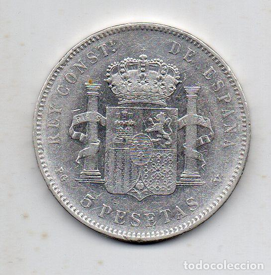 Monedas de España: Alfonso XIII. 5 Pesetas. Año 1896 *18*96. Plata. - Foto 2 - 143623990