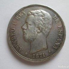 Monedas de España: AMADEO I * 5 PESETAS 1871*71 SD M * PLATA. Lote 144292750