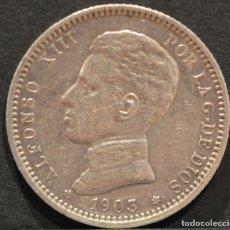 Monedas de España: 1 PESETA 1903 *19 *03 SMV PLATA ESPAÑA. Lote 52079551