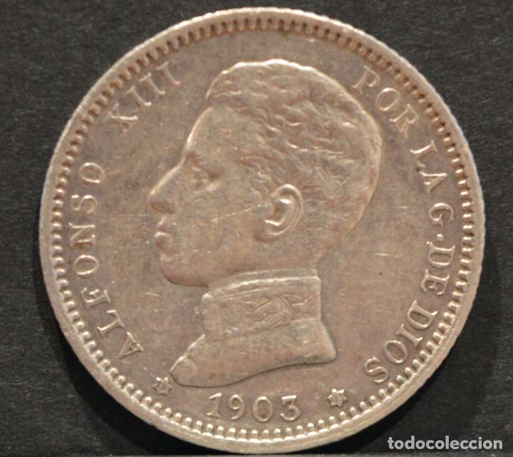 Monedas de España: 1 PESETA 1903 *19 *03 SMV PLATA ESPAÑA - Foto 2 - 52079551