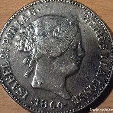 Monedas de España: 20 REALES 1860 ISABEL II . FALSA DE EPOCA. REPRODUCCIÓN MUY BONITA CON PLATEADO Y BRILLO ORIGINAL.. Lote 144789226
