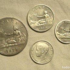 Monedas de España: LOTE 4 MONEDAS PLATA 1 PESETA GOBIERNO PROVISIONAL, 2 PESETAS Y 5 PESETAS. Lote 144924210