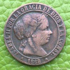 Monedas de España: ISABEL II. CÉNTIMO DE ESCUDO. 1868. SEGOVIA.. Lote 145471760