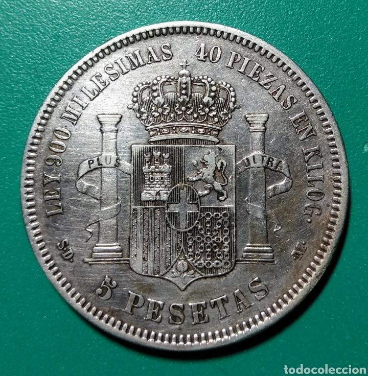 Monedas de España: 5 Pesetas Plata, Amadeo. 1871 *71 SDM. - Foto 2 - 145748362