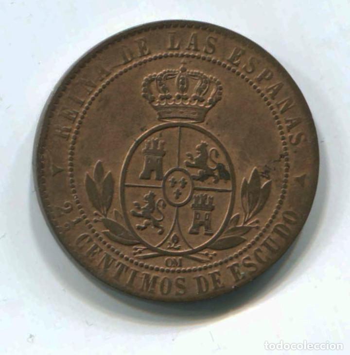 Monedas de España: Isabel II. 2 1/2 céntimos de escudo, 1868. Segovia - Foto 2 - 146080118
