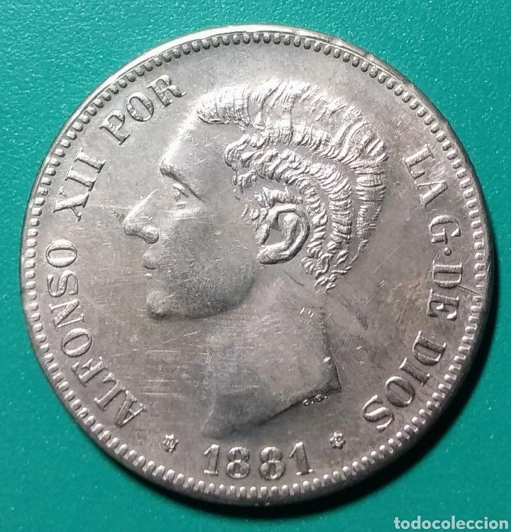 5 PESETAS PLATA 1881. DEM. ALFONSO XII. (Numismática - España Modernas y Contemporáneas - De Isabel II (1.834) a Alfonso XIII (1.931))