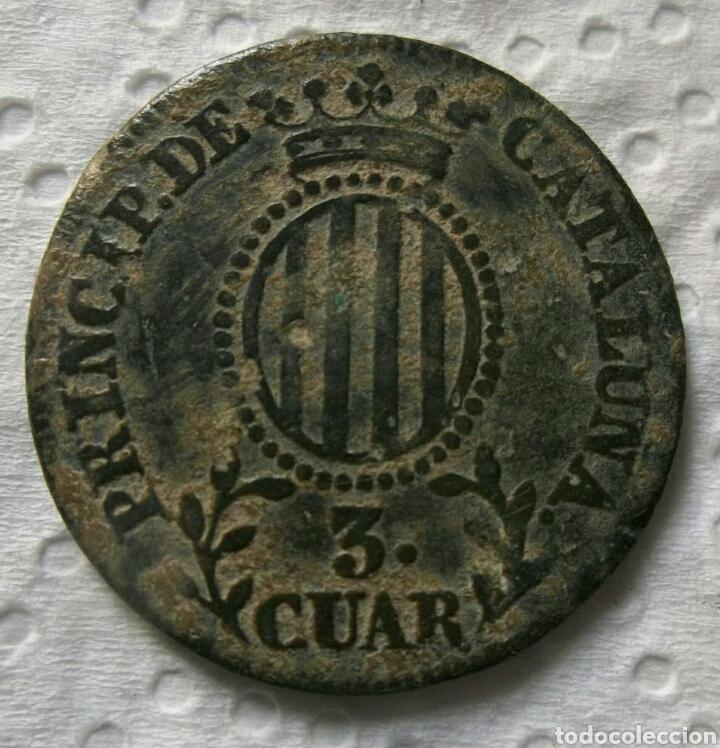 ISABEL II, 3 CUARTOS 1837, PRINCIPADO DE CATALUÑA (Numismática - España Modernas y Contemporáneas - De Isabel II (1.834) a Alfonso XIII (1.931))