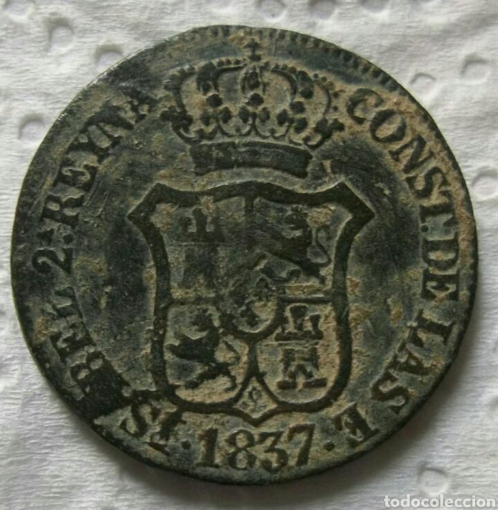 Monedas de España: Isabel II, 3 cuartos 1837, principado de Cataluña - Foto 2 - 146316457