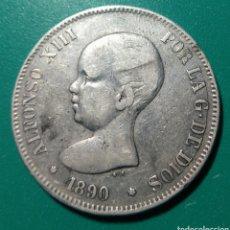 Monedas de España: 5 PESETAS PLATA 1890. PGM. ALFONSO XIII.. Lote 146593312