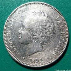 Monedas de España: 5 PESETAS PLATA 1894 PGV. ALFONSO XIII.. Lote 146711710