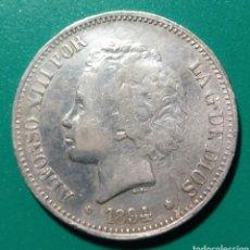 Monedas de España: 5 PESETAS PLATA 1894 MSM. ALFONSO XIII. FALSO DE ÉPOCA.. Lote 146714132