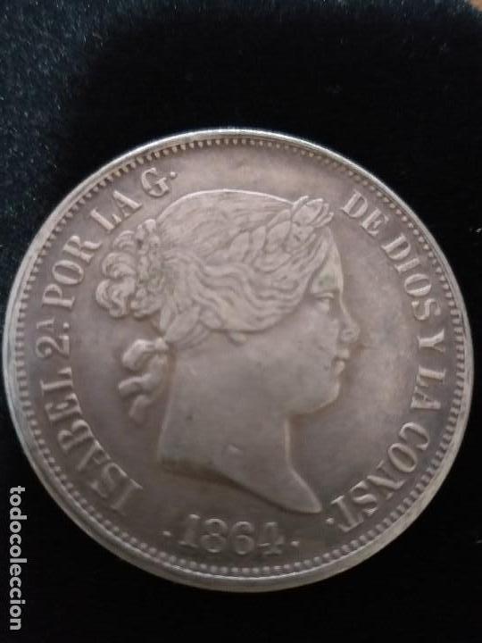 ESPECTACULAR MONEDA 20 REALES PLATA ISABEL II 1864 (Numismática - España Modernas y Contemporáneas - De Isabel II (1.834) a Alfonso XIII (1.931))