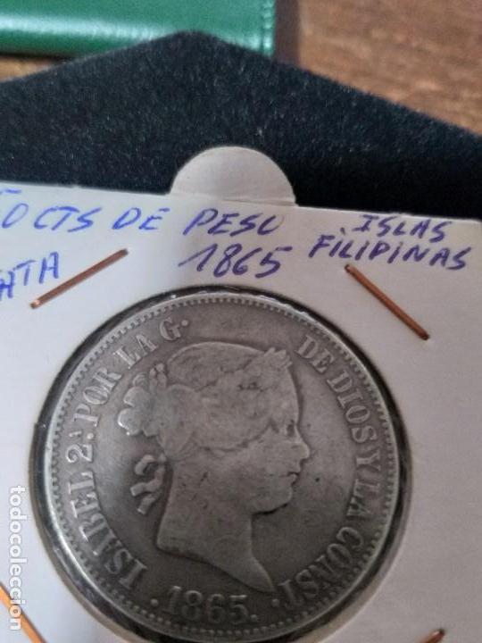 ESPECTACULAR MONEDA 50 CENTIMOS DE PESO ISABEL II PLATA 1865 (Numismática - España Modernas y Contemporáneas - De Isabel II (1.834) a Alfonso XIII (1.931))