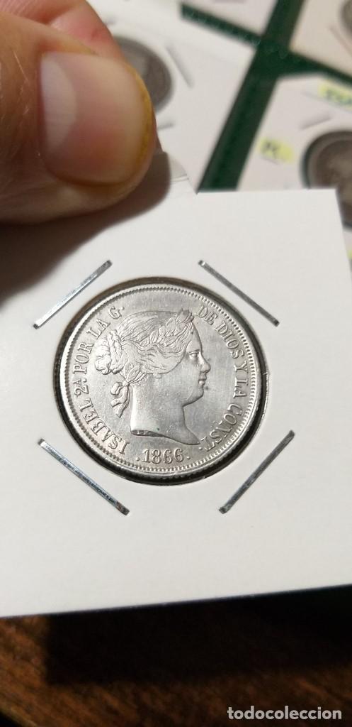 ESPECTACULAR MONEDA 40 CENTIMOS ESCUDO MADRID ISABEL II PLATA 1866 CASI SIN CIRCULAR (Numismática - España Modernas y Contemporáneas - De Isabel II (1.834) a Alfonso XIII (1.931))
