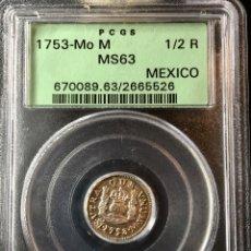 Monedas de España: ¡¡ RARA ASI !! PRECIOSA MONEDA DE 1/2 REAL DE FERNANDO VI. AÑO 1753. MEXICO. M NGC MS63!!!!!. Lote 147262350