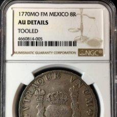 Monedas de España: MONEDA DE 8 REALES DE CARLOS III. AÑO 1770. CECA DE MEXICO. ENSAYADORES F.M NGC AU!!. Lote 147411830