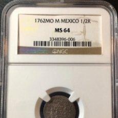 Monedas de España: ¡¡ SIN CIRCULAR !! MONEDA PLATA 1/2 REAL CARLOS III. AÑO 1762. CECA DE MEXICO. M. NGC MS64!!!. Lote 147501170
