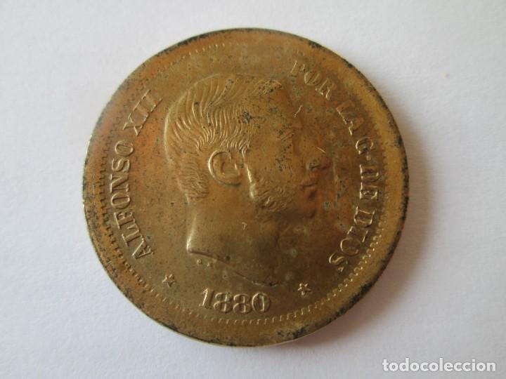 ALFONSO XII * 50 CENTAVOS DE PESO 1880 - FILIPINAS * PRUEBA LATON (Numismática - España Modernas y Contemporáneas - De Isabel II (1.834) a Alfonso XIII (1.931))