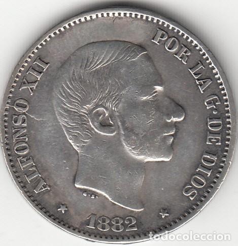 ALFONSO XII: 50 CENTAVOS DE PESO 1882 - FILIPINAS ( PLATA ) (Numismática - España Modernas y Contemporáneas - De Isabel II (1.834) a Alfonso XIII (1.931))