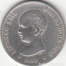Monedas de España: ALFONSO XIII: 2 PESETAS 1892 * ..-92 ( PLATA ). Lote 147695034