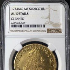 Monedas de España: ¡¡ ESCASA !! MONEDA ORO 8 ESCUDOS FELIPE V. MEXICO. 1744. ENSAYADORES M.F CERTIFICADA NGC!!. Lote 147723346
