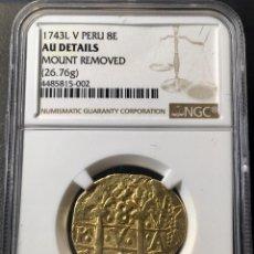 Monedas de España: ¡¡ RARA !! MONEDA ORO 8 ESCUDOS FELIPE V. AÑO 1743. LIMA. ENSAYADOR V. CERTIFICADA NGC!!!. Lote 147731298