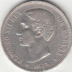 Monedas de España: ALFONSO XII: 5 PESETAS 1875 ESTRELLAS 18-75 ( PLATA ). Lote 147814862