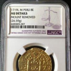 Monedas de España - ¡¡ RARA !! 8 ESCUDOS ORO FELIPE V. LIMA (PERU) AÑO 1719. ENSAYADOR M. CERTIFICADA NGC AU DETAILS!! - 147926390