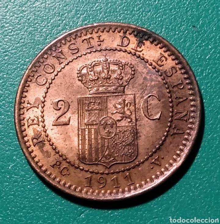Monedas de España: 2 céntimos de Peseta cobre 1911 *11 PCV. Alfonso XIII. - Foto 2 - 148081506