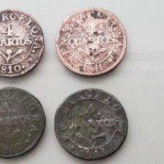 Monedas de España: BUEN LOTE 4X 4 CUARTOS 1810 1811 1812 1813 BARCELONA COBRE NAPOLEON. Lote 148144072