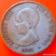 Monedas de España: ESPAÑA, 5 PESETAS, 1892. ALFONSO XIII. PLATA.. Lote 148269530
