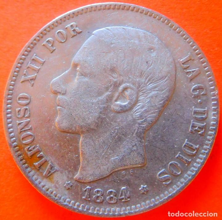 ESPAÑA, 5 PESETAS, 1884, *18*84 MSM. ALFONSO XII. PLATA. (Numismática - España Modernas y Contemporáneas - De Isabel II (1.834) a Alfonso XIII (1.931))