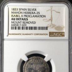 Monedas de España: ¡¡ MUY RARA !! PRECIOSA MEDALLA DE PLATA DE LA PROCLAMACION DE ISABEL II EN MAHON. (MENORCA) 1833. Lote 48909733