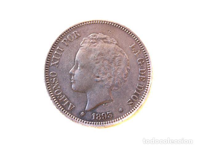 MONEDA 5 PTS, ALFONSO XIII, 1893 (Numismática - España Modernas y Contemporáneas - De Reyes Católicos (1.474) a Fernando VII (1.833))