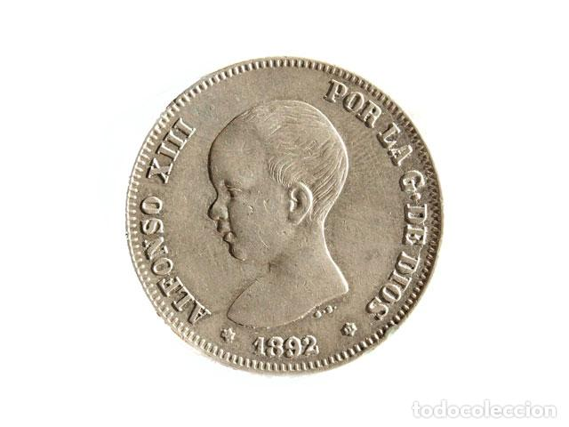 MONEDA 2 PTS, ALFONSO XIII, 1892 (Numismática - España Modernas y Contemporáneas - De Reyes Católicos (1.474) a Fernando VII (1.833))
