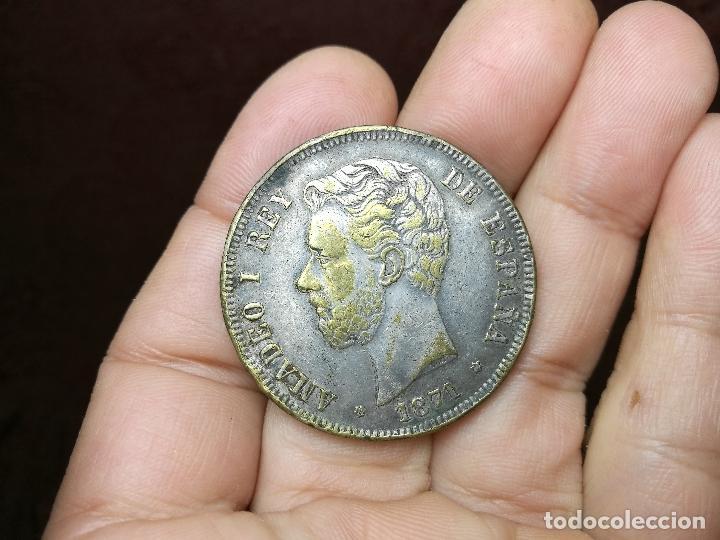 INTERESANTE DURO 1871 AMADEO I DE SABOYA FALSO DE ÉPOCA CONSERVA PARTE DEL BAÑO DE PLATA (Numismática - España Modernas y Contemporáneas - De Isabel II (1.834) a Alfonso XIII (1.931))