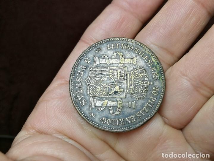 Monedas de España: INTERESANTE DURO 1871 AMADEO I DE SABOYA FALSO DE ÉPOCA CONSERVA PARTE DEL BAÑO DE PLATA - Foto 3 - 149225678