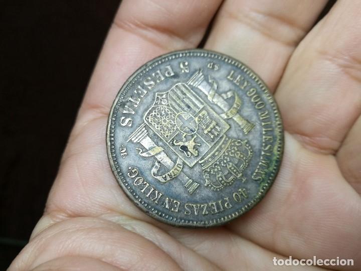 Monedas de España: INTERESANTE DURO 1871 AMADEO I DE SABOYA FALSO DE ÉPOCA CONSERVA PARTE DEL BAÑO DE PLATA - Foto 11 - 149225678