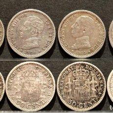 Monedas de España: LOTE 4 MONEDAS 50 CENTIMOS CENTENARIO PLATA ESPAÑA ESTRELLA VISIBLES. Lote 149384678