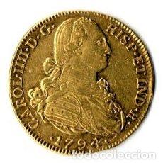 Monedas de España: NUMISMATICA,8 ESCUDOS DE ORO REY DE ESPAÑA CARLOS IIII-IV,NUEVO REINO GRANADA,AÑO 1794,ONZA ESPAÑOLA. Lote 149744090
