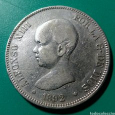 Moedas de Espanha: 5 PESETAS PLATA. 1892 *92 PGM. ALFONSO XIII.. Lote 150168309