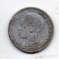 Monedas de España: ALFONSO XIII. 1 PESETA. AÑO 1902. PLATA.. Lote 150260570