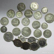 Monedas de España: CONJUNTO DE 26 MONEDAS ESPAÑOLAS DE PLATA ANTIGUAS. 7 DE ELLAS EN PULSERA. LOTE 1499. Lote 156660081