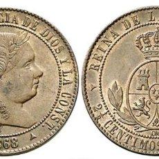 Monedas de España: SPAIN ESPAÑA BARCELONA 2 1/2 CENTIMOS ISABEL II 1868 OM CON FICHA SUBASTA. Lote 150422678