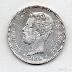 Monedas de España: AMADEO I. 5 PESETAS. AÑO 1871 *18 *74 DE - M. PLATA.. Lote 150478986
