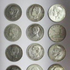 Monedas de España: 12 MONEDAS DE 5 PESETAS DE PLATA GOBIERNO PROVISIONAL, AMADEO I, ALFONSO XII, ALFONSO XIII LOTE-1507. Lote 151145686