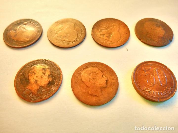7 MONEDAS DE COBRE. 6 DE 1.870 - 1 DE 1.937 (REGULAR ESTADO). VARIAS FOTOS Y DESCRIPCION. (Numismática - España Modernas y Contemporáneas - De Isabel II (1.834) a Alfonso XIII (1.931))
