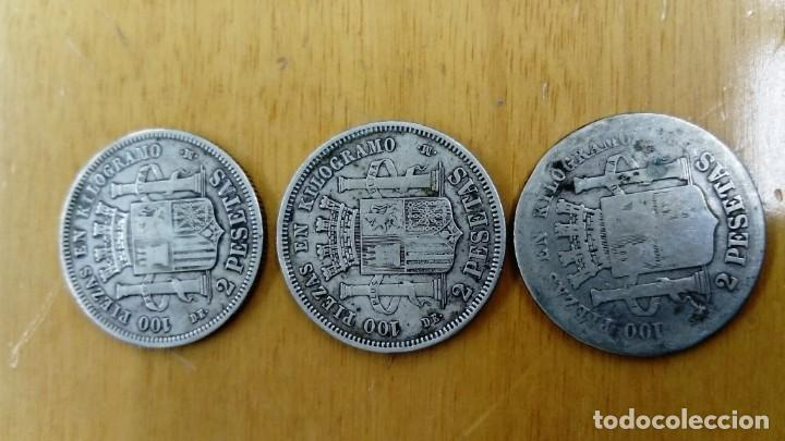 Monedas de España: Tres monedas de plata de 2 pesetas de 1870 - Foto 2 - 151310762