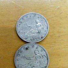 Monedas de España: TRES MONEDAS DE PLATA DE 2 PESETAS DE 1870. Lote 151310762